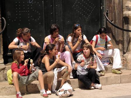Having ice cream after school. Valencia, Spain