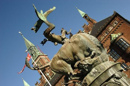 Bull and Dragon Fountain. City Hall Square. Copenhagen, Denmark